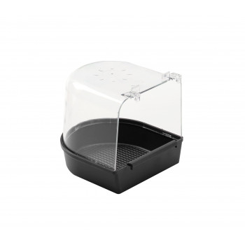 Black tub with plastic hooks