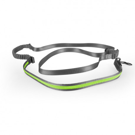 Leash jogging green Nylon with led 180-250cm