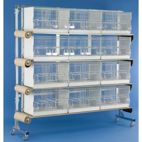 Batterie d'élevage 12 cages - 60x31x35cm